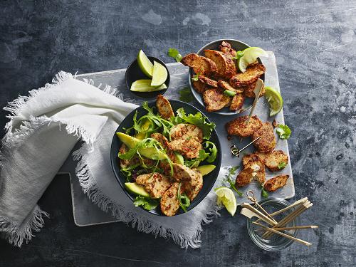 Vegetarian chicken piri piri from M&S in bowls.