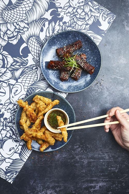 vegan chilli squid and vegan ribs from wagamama.