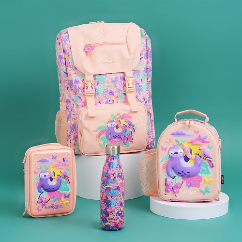 Pink Smiggle bags and school products with a sloth illustration on the print.