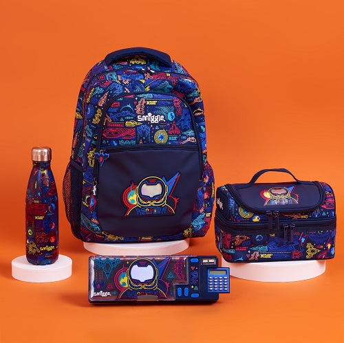 Blue and patterned smiggle products.