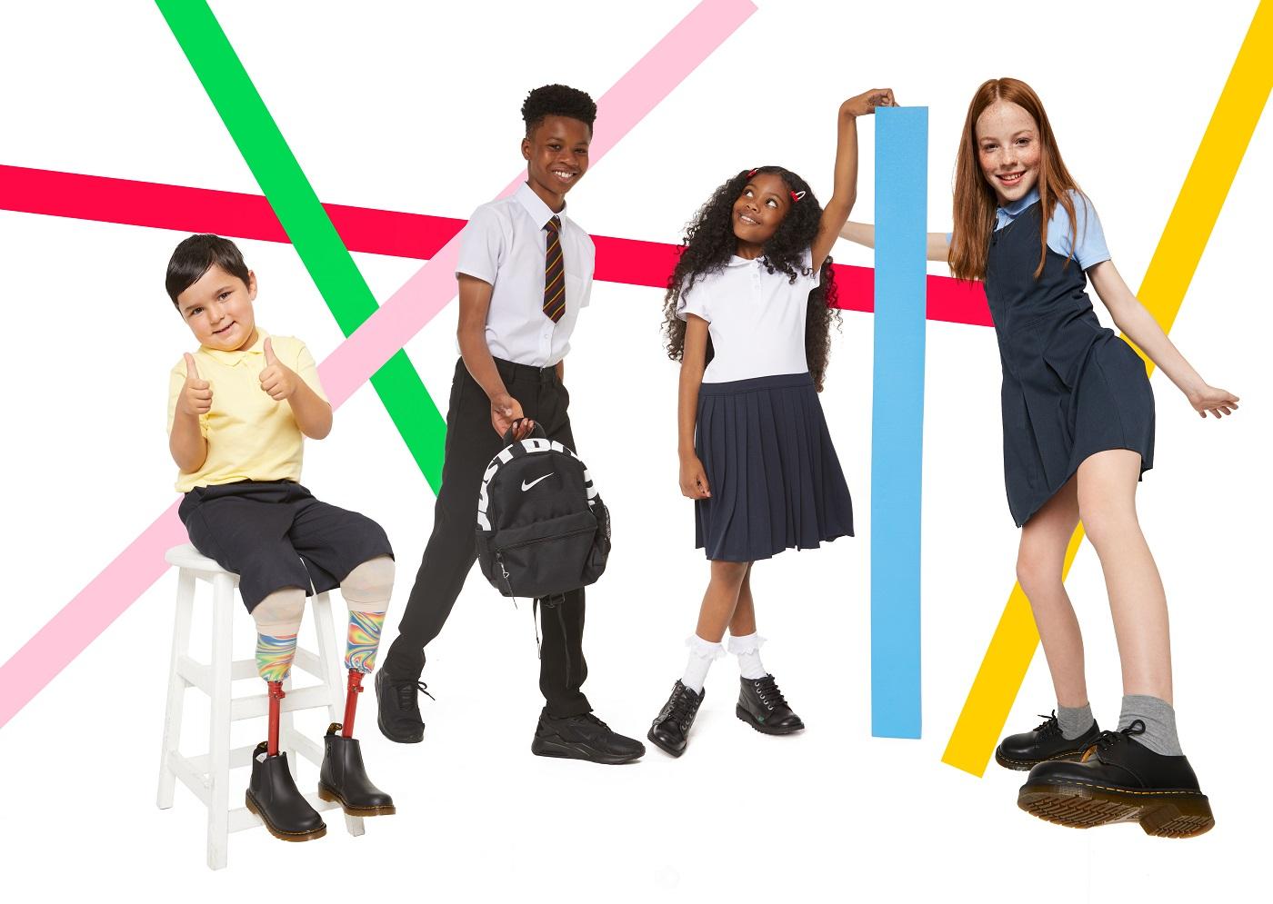School children wearing schuh shoes.
