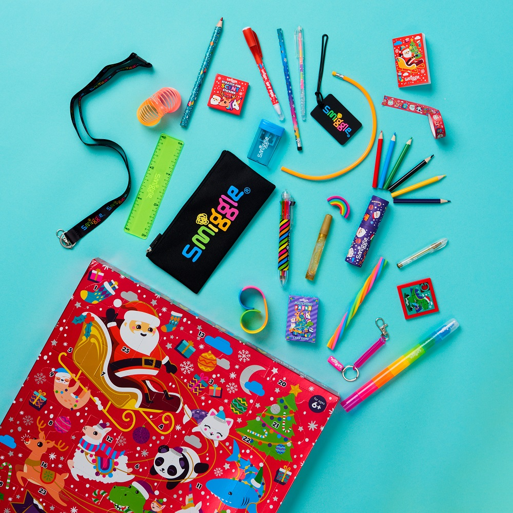 Smiggle Advent Calendar with products spilling out.