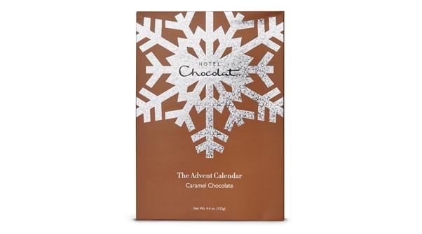 Bronze Advent Calendar from Hotel chocolat with chocolates around it.