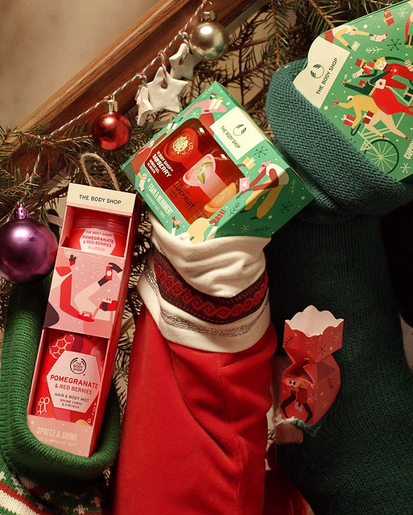 Various body shop products in stockings.