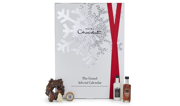 Advent Calendar from Hotel chocolat with chocolates around it.