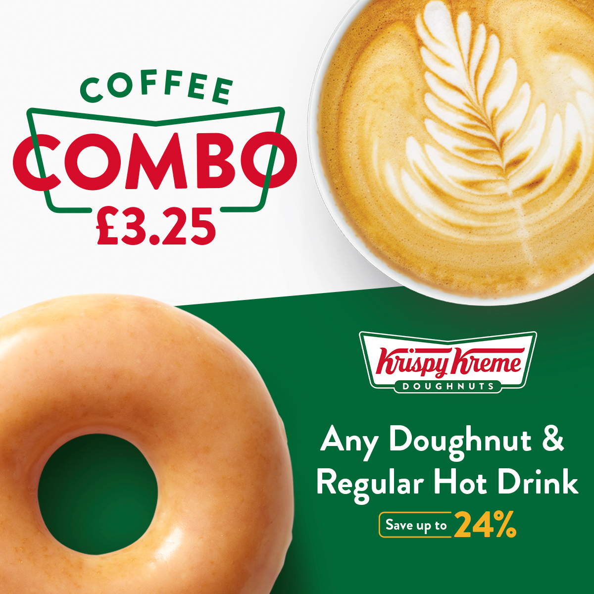 an image of coffee and doughnut with the text coffee combo £3.25.