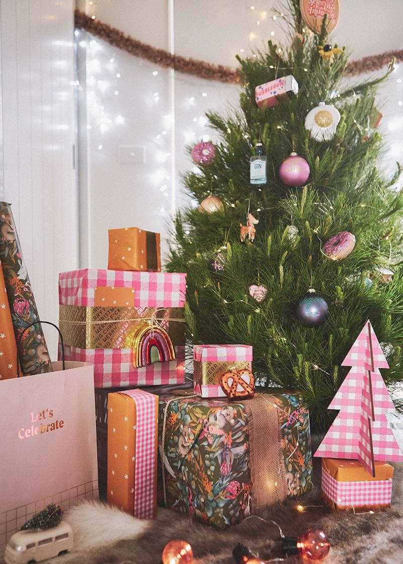 Typo Christmas ornaments selection on Christmas tree and presents