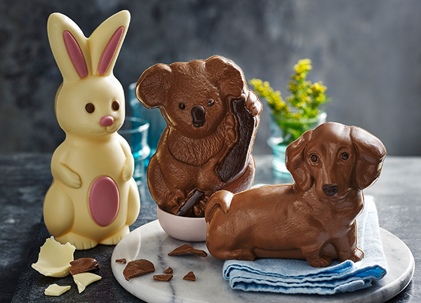 Bella Bunny, Kylie Koala and Walter the Sausage Dog easter eggs