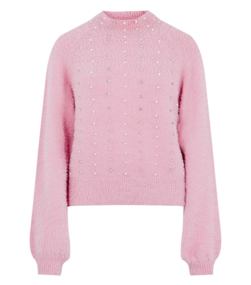pink jumper with white sequins