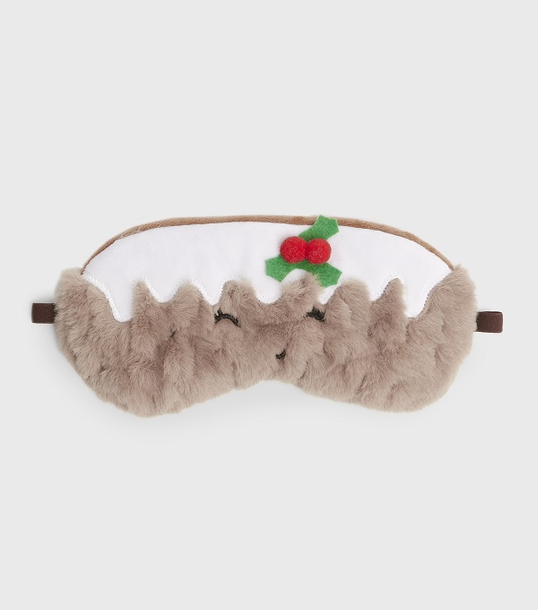 christmas pudding themed sleep mask