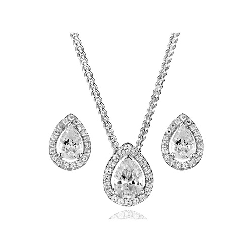 silver and cubic zirconia necklace and earrings