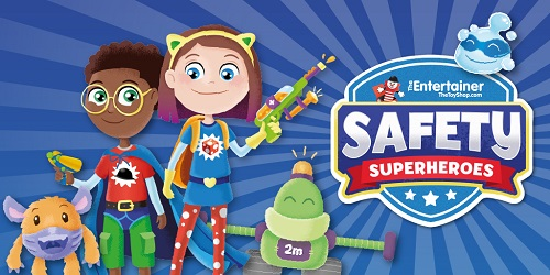 An illustration showing a boy and a girl dressed up and playing with toys and text saying Safety Super Heroes