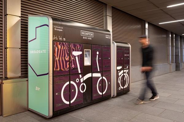 Brompton Bike hire locker Broadgate.