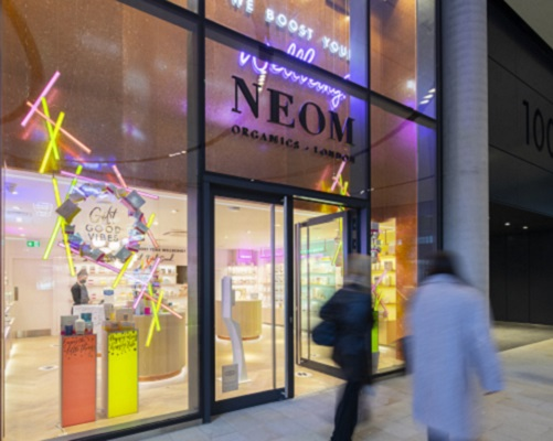 Store front of Neom at 100 Liverpool Street.