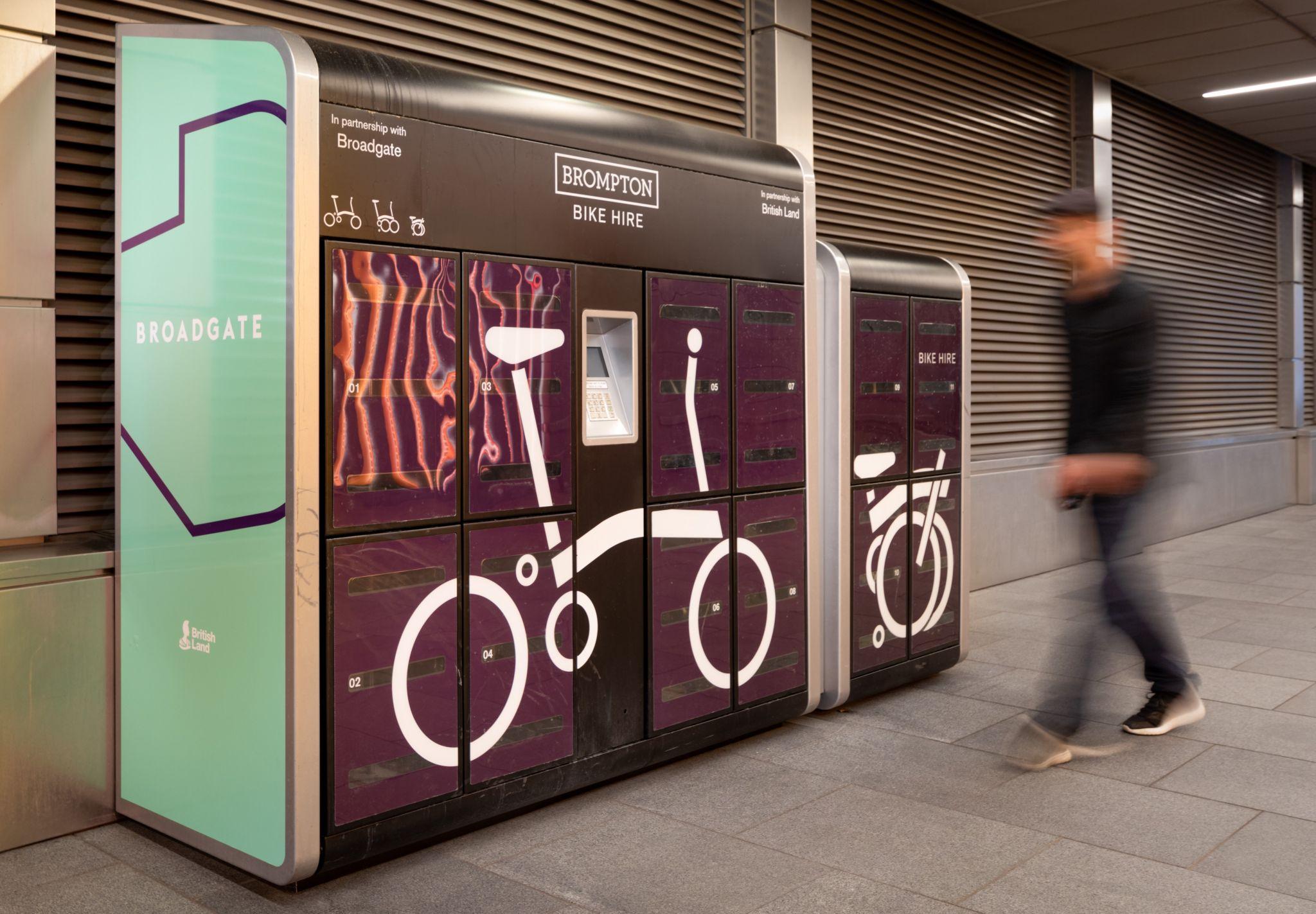 Brompton bike lockers at Broadgate