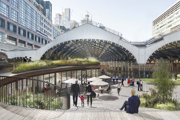 CGI image of Exchange Square after refurbishment in 2021