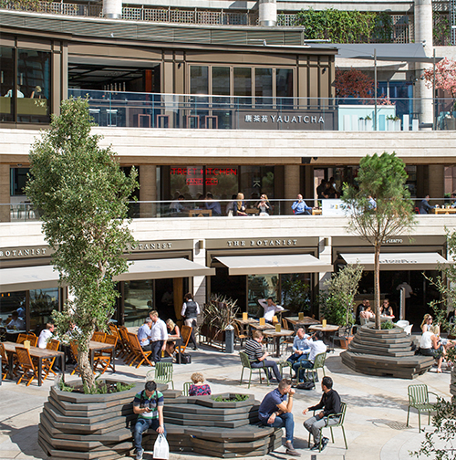 Outside image of some of Broadgate's restaurants