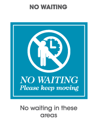 No waiting in these areas sign
