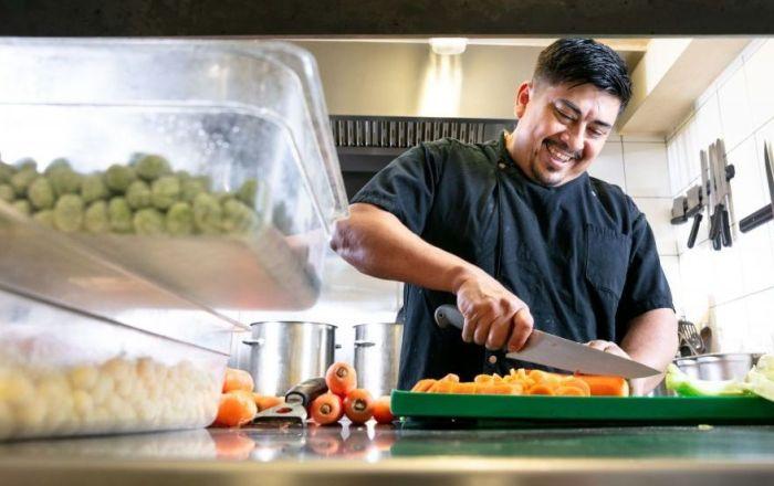 Chef chopping Carrots at Nyokee Broadgate Circle