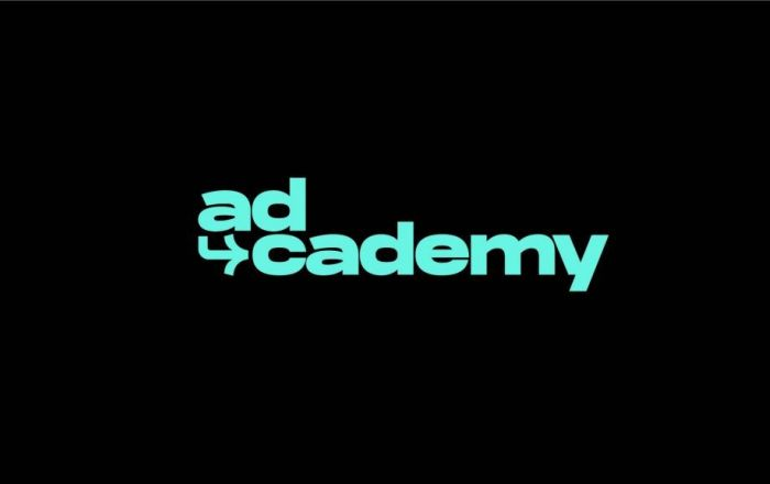 Black box with blue text saying 'ad-cademy'