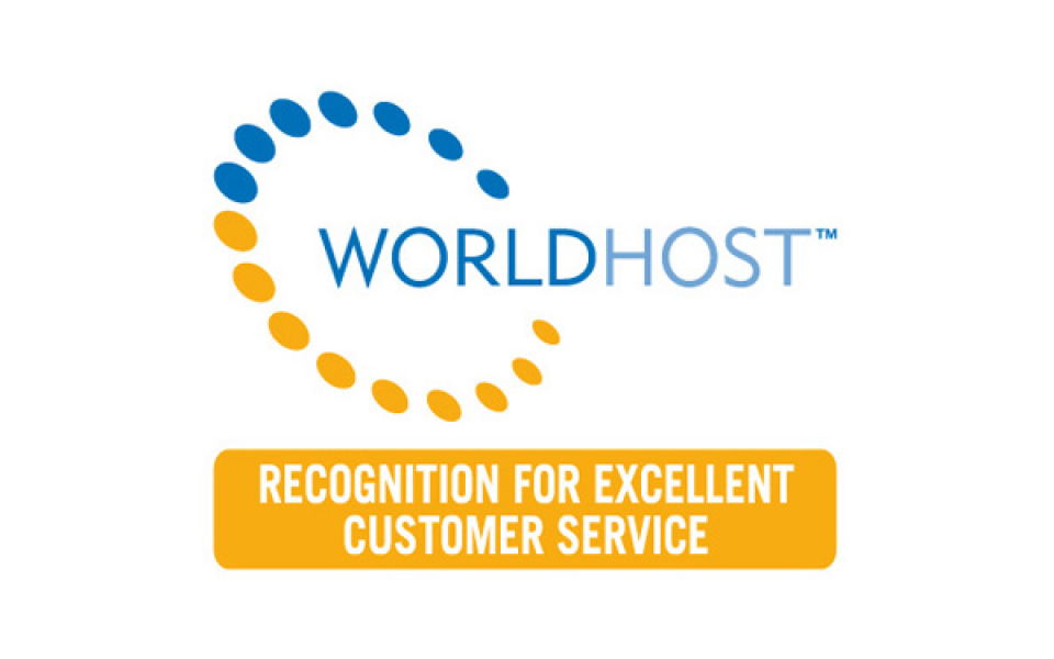 Worldhost logo with the text 'Worldhost, recognition for excellent customer service'.