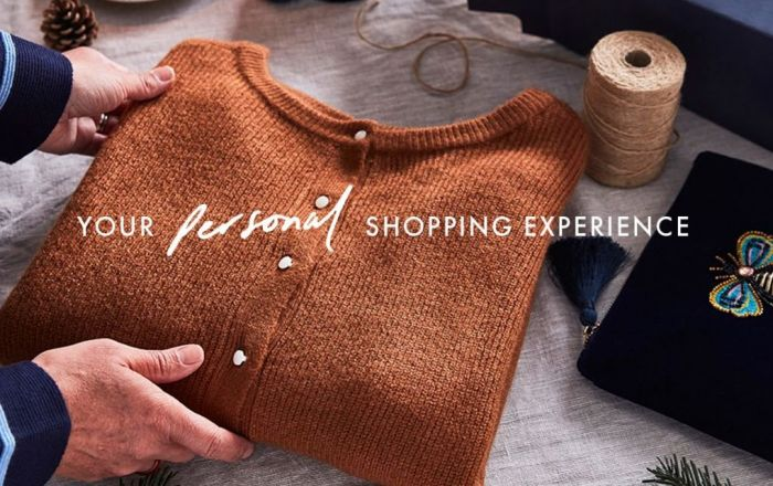 brown jumper with the text Your Personal Shopping Experience