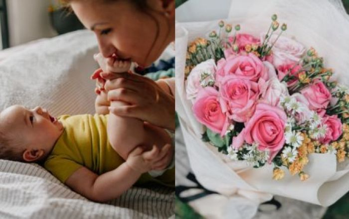 4 images side by side of a mother kissing her laughing babies feet, a bouquet of flowers, a mother and young daughter baking together and a older mother and son gardening together