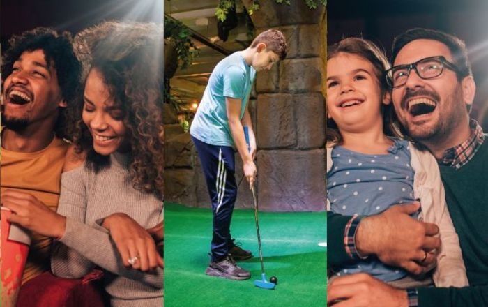 3 images. 1 child playing adventure golf, 1 couple watching a movie laughing, man with child watching a movie