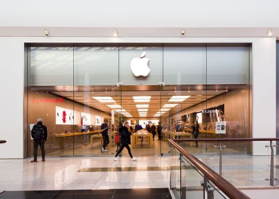 Apple store front.