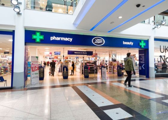 Front of Boots store.