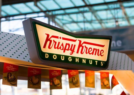 Krispy Kreme store sign.