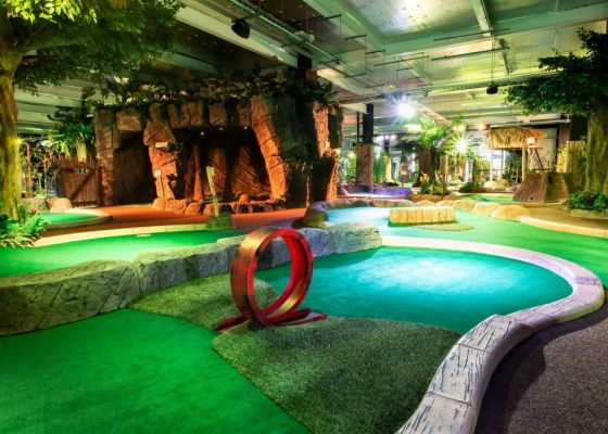 Interior image of Paradise Island Adventure golf showing one of the sections of the course.