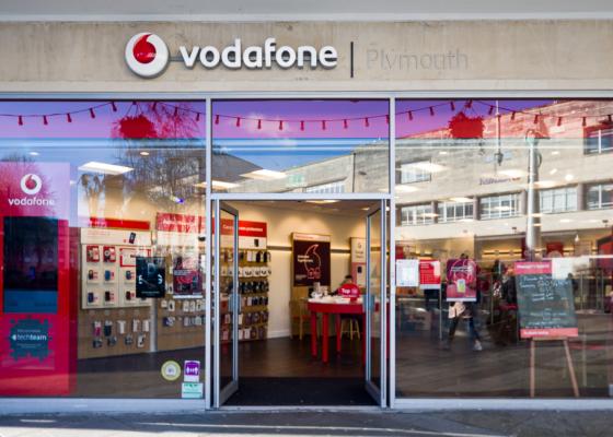 Vodafone shop exterior.