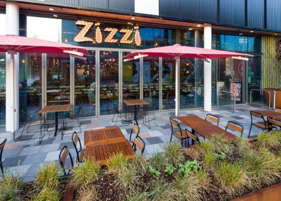 Exterior of Zizzi Restaurant.