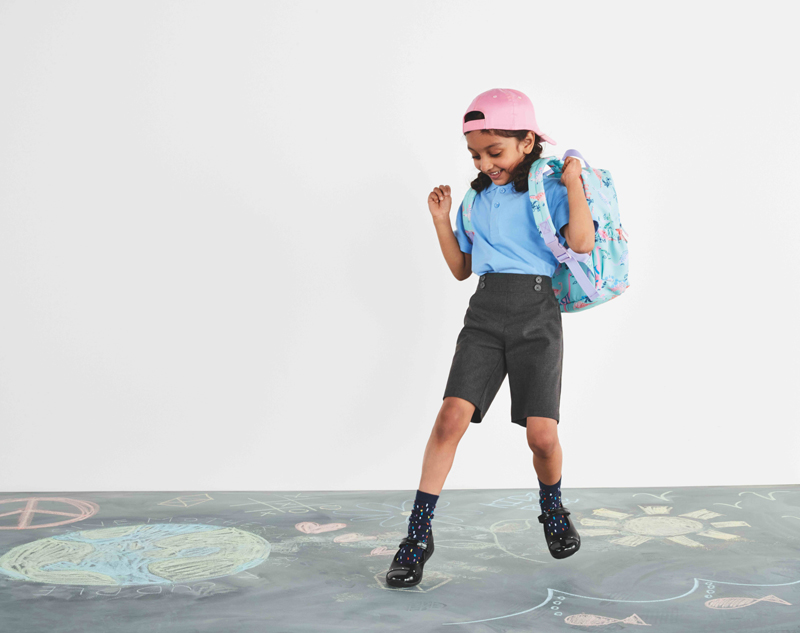 A schoolchild wearing M&S clothes.