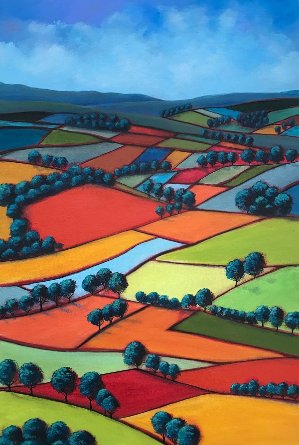 A painting of fields.