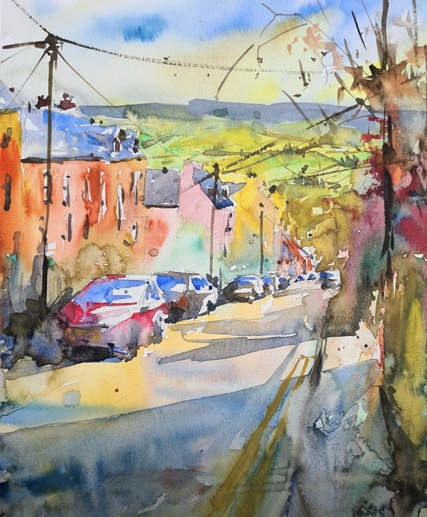 A painting of a street.