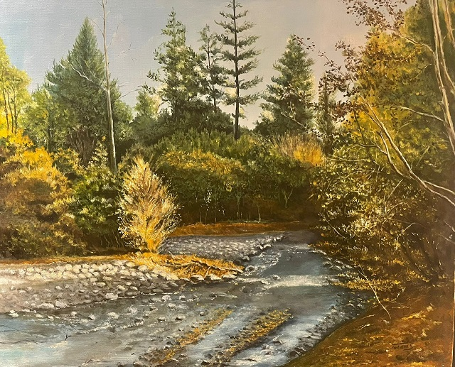 A painting of trees.