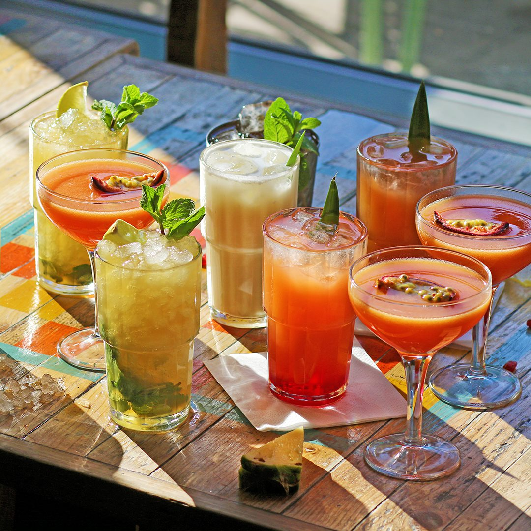 group of cocktails on table