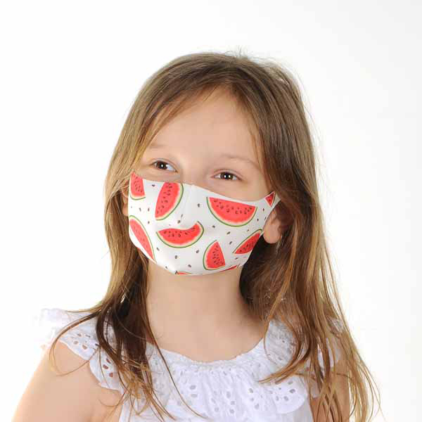 young girl wearing a child's mask with a watermelon print from Claire's Accessories