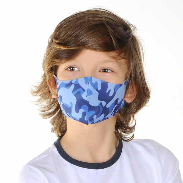 young voy wearing a child's mask with a blue camouflage print from Claire's Accessories