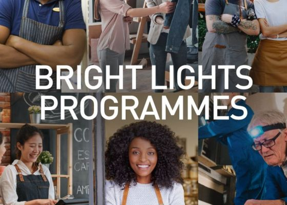 A banner that says bright light programmes in white text.