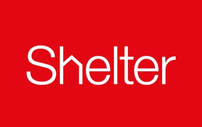 Shelter logo on red background