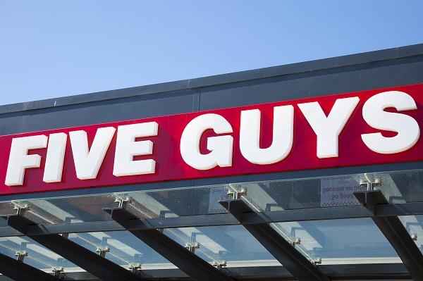 Five Guys sign.
