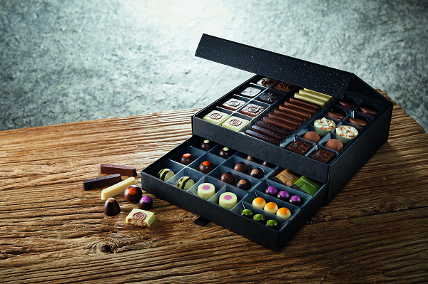 A large box of chocolates from Hotel Chocolat.
