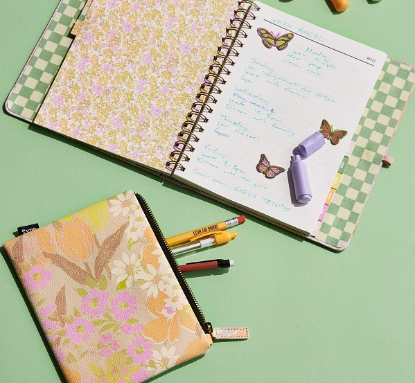 Notepad and pencil case with butterfly and floral detail from Typo.