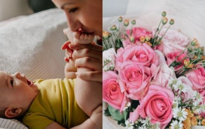 2 images including a mother kissing her babies feet, a bouquet of flowers