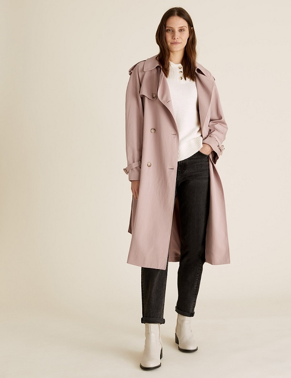 Image of a woman wearing M&S clothing including a long coat.