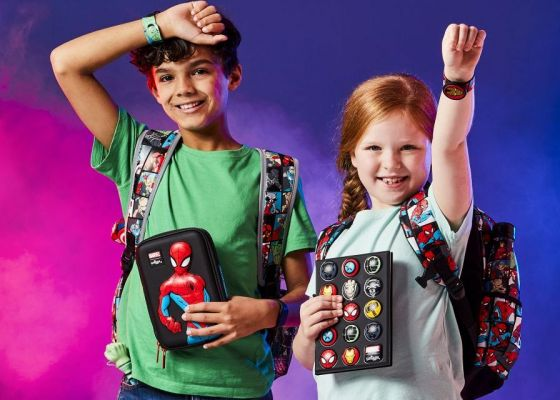 Two children wearing Smiggle Marvel products.