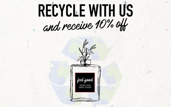 A illustrated perfume bottle with a recycling logo behing and text says 'recycle with us and receive 10% off.'